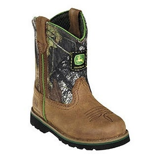 John Deere Boys Girls Tan Camo Leather Western Boots Baby Toddler 4-8