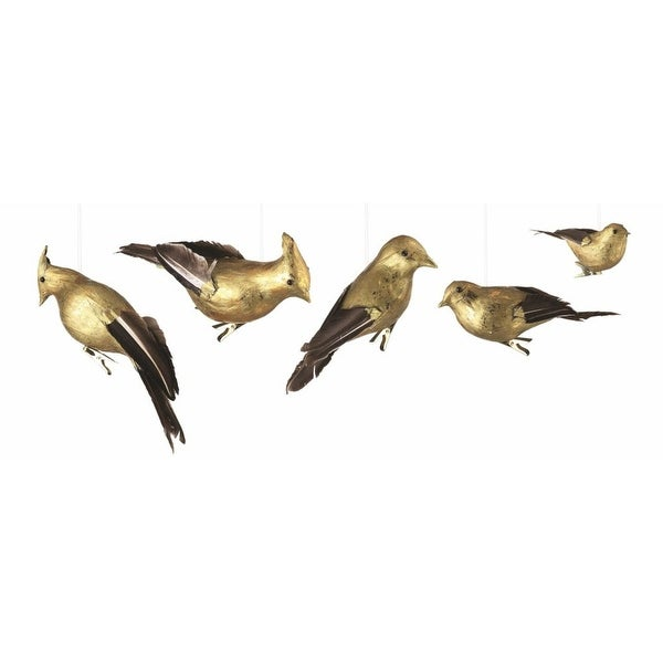 Set of 5 Luxury Lodge Brown and Gold Gilded Birds Clip-On Christmas Ornaments 8.25""