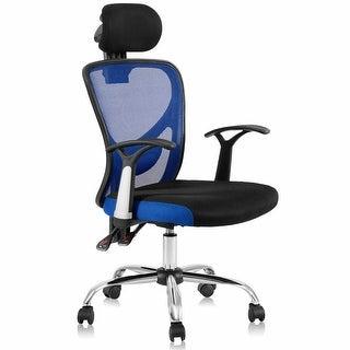 Gymax Swivel Office Chair Ergonomic Mesh High Back Chair Headrest