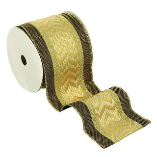"""Gold and Brown Metallic Flame Chevron Wired Craft Christmas Ribbon 4"""" x 5 Yards"""
