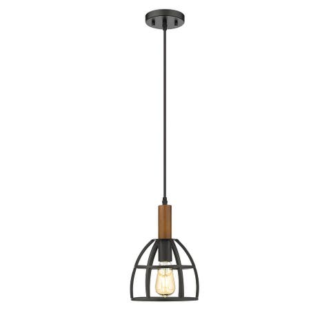 OVE Decors Woodstock 1-Light 8 in Ceiling Pendant Light in Black and Wood finish