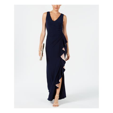 BETSY & ADAM Navy Sleeveless Full Length Dress Size 10