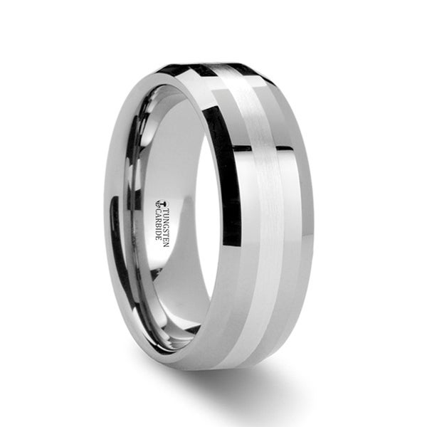 THORSTEN - BENEDICT Palladium Inlaid Beveled Tungsten Ring