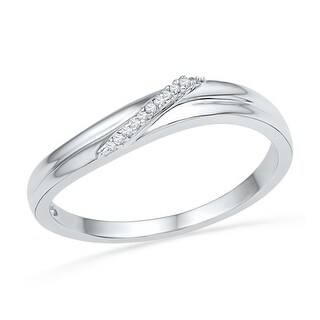 10kt White Gold Womens Round Natural Diamond Band Fashion Ring .03 Cttw