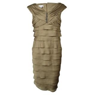 London Times Women's Beaded V-Neck Tiered Chiffon Dress - Tan