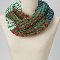 Multicolored Knit Infinity Scarf - Green, White, Red