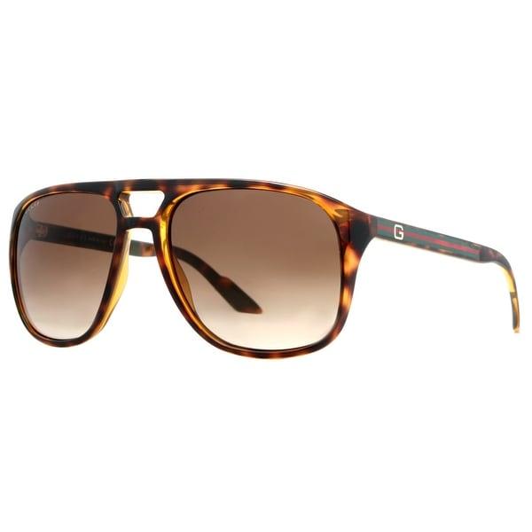 Gucci GG 1018/S 791/CC Havana Brown/Brown Gradient Aviator Sunglasses - havana brown - 57mm-17mm-135mm