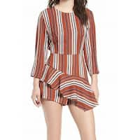 LUSH Brown Womens Size Medium M Stripe Ruffle 3/4 Sleeve Romper