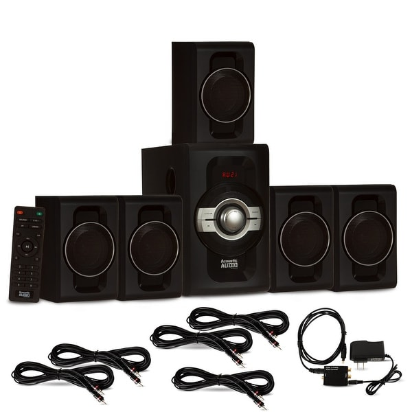 Acoustic Audio AA5240 Bluetooth 5.1 Speaker System Optical Input & 5 Ext. Cables
