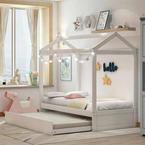 Merax Kids House Bed with Trundle