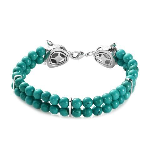 Green Turquoise Bracelet Size 8 Inch Ct 83.2 - Bracelet 8''