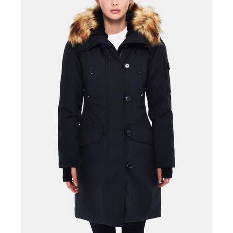 S13 Alaska Faux-Fur-Trim Hooded Parka, Black/Natural, X-Small