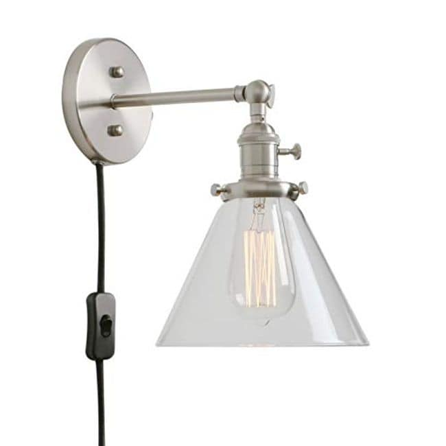 Plug In Wall Light Clear Gl On Off Switch Brushed Sconce