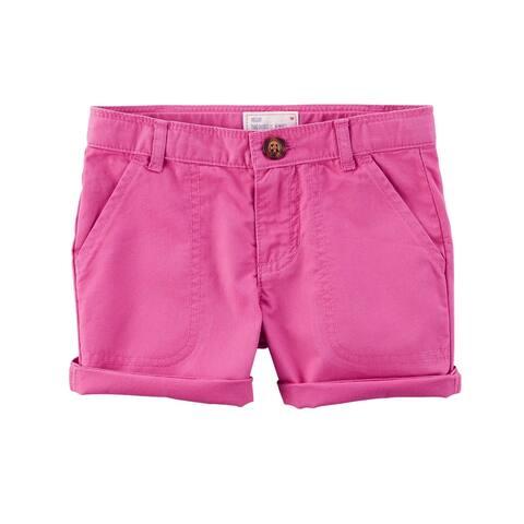 Carter's Little Girls' Twill Roll-Cuff Shorts, Pink