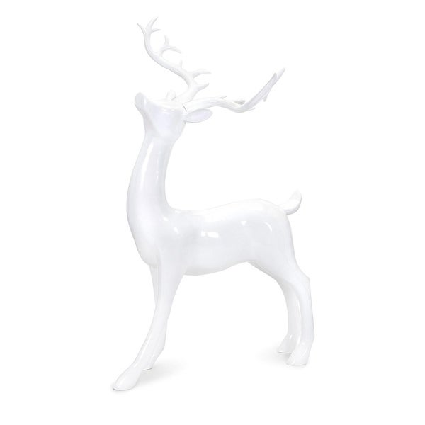 "37.75"" Classical Crisp White Playful Decorative Standing Reindeer Sculpture"
