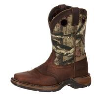 "Durango Western Boots Boys 8"" Saddle Leather Square Toe Brown"