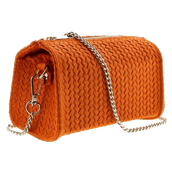 HS1152 AR PIA Orange Leather Wristlet/Crossbody Bag - 7-4-4