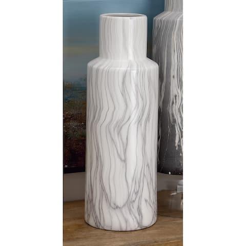 White Dolomite Contemporary Vase 21 x 8 x 7