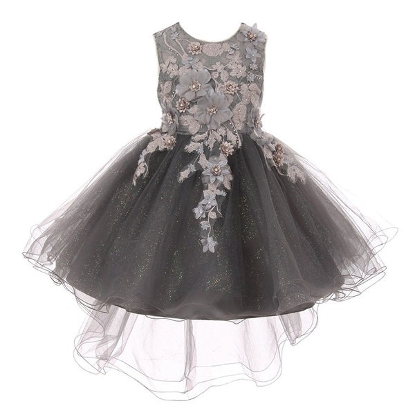 a6d91df500 Shop Girls Silver 3D Floral Appliques Hi-Low Tulle Junior Bridesmaid Dress  - Free Shipping Today - Overstock.com - 20271467