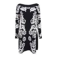 INC International Concepts Women's Floral Sweater Dress (S, Black) - Black - s