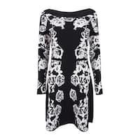 INC International Concepts Women's Floral Sweater Dress (S, Black) - Black - s