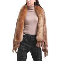 Mad Style Fur Collar Fringe Shawl