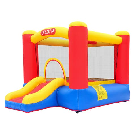 Leadzm Inflatable Bounce House Small Jumper Slide Basket Kids Castle + Blower + Carry Bag