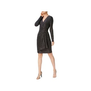 Calvin Klein Womens Wrap Dress Metallic Long Sleeves