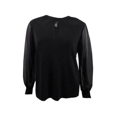INC International Concepts Women's Plus Size Bishop-Sleeve Cutout Sweater - Black