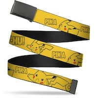 Blank Black  Buckle Pikachu Attack Poses Pika Chu! Yellow Webbing Web Belt