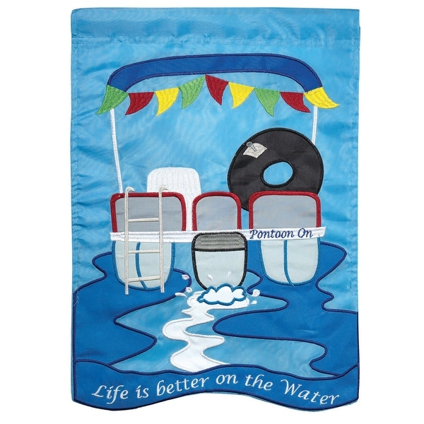 """18"""" White and Blue """"Life is better on the Water"""" Rectangular Garden Flag - N/A"""