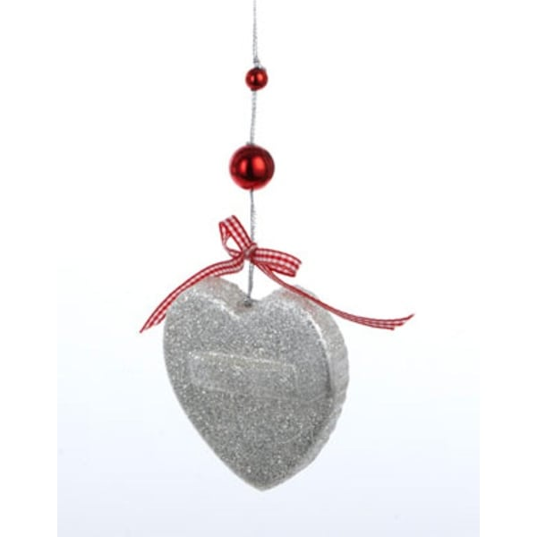 """3"""" Gingerbread Kisses Silver Glittered Heart Cookie Cutter Christmas Ornament"""