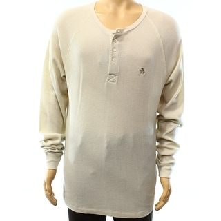PENGUIN NEW Beige Mens Size XL Long Sleeve Thermal Knit Henley Shirt
