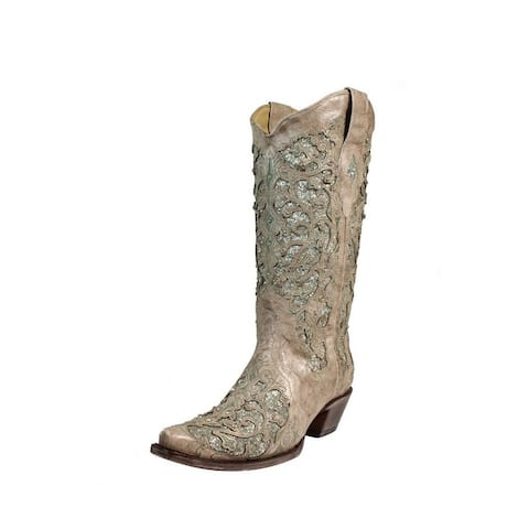 Corral Western Boots Womens Leather Inlay Cowboy Snip Toe White