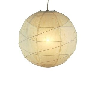 "Adesso 4160 Orb 14"" Wide 1 Light Pendant with Natural Rice Paper Shade"