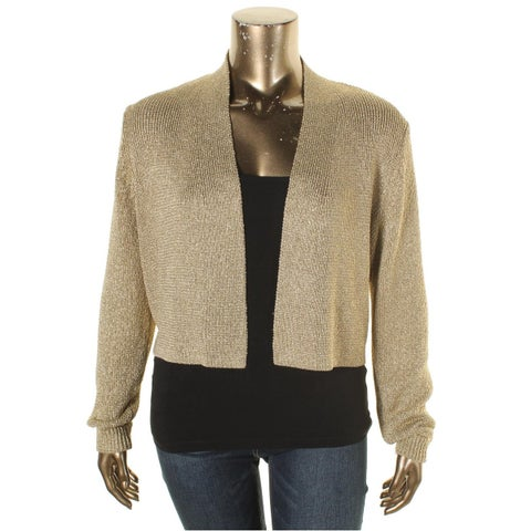 Calvin Klein Womens Shrug Sweater Metallic Open Front
