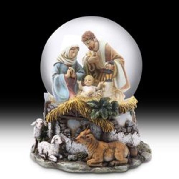"6"" Musical ""Silent Night"" Holy Family Religious Nativity Christmas Water Globe"