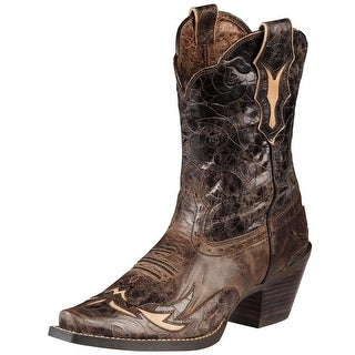 Ariat Dahlia Women C Square Toe Leather Brown Western Boot