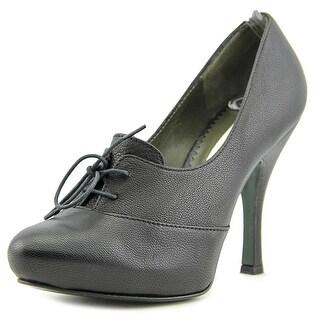 Deimille Donna Women  Round Toe Leather Black Heels