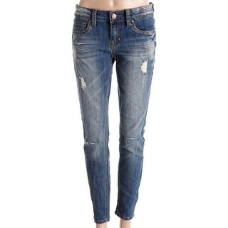 Dollhouse Womens Juniors Jayden Skinny Jeans Denim Distressed - 7