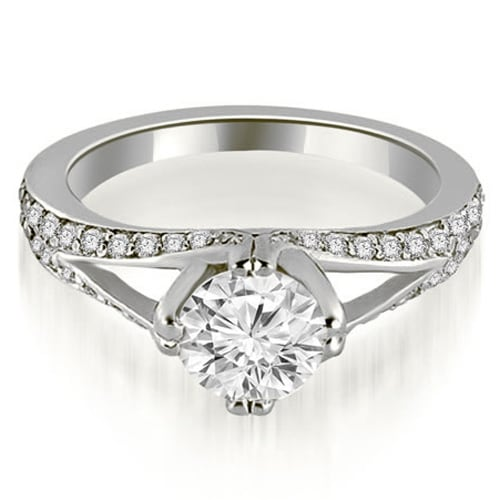 1.30 cttw. 14K White Gold Prong Set Round Cut Diamond Engagement Ring