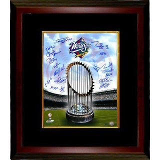 Darryl Strawberry signed New York Yankees 16x20 Photo Custom Framed 1998 World Series Champions Logo and Trophy 18 sigs