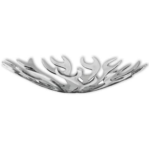 vidaXL Fruit Basket Flame Shape Aluminum Silver