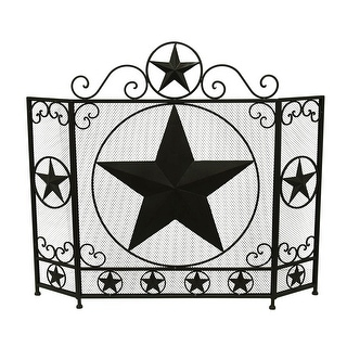 shop rustic brown western star 3 panel metal fireplace screen free rh overstock com Rustic Star Fireplace Screen Texas Star Fireplace Screen