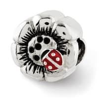 Sterling Silver Reflections Flower w/Enameled Ladybug Bead (4mm Diameter Hole)
