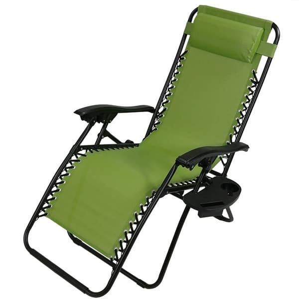 Reclining Lounge Patio Chairs Zero Gravity Outdoor Oversize w// Cup Holder Multi