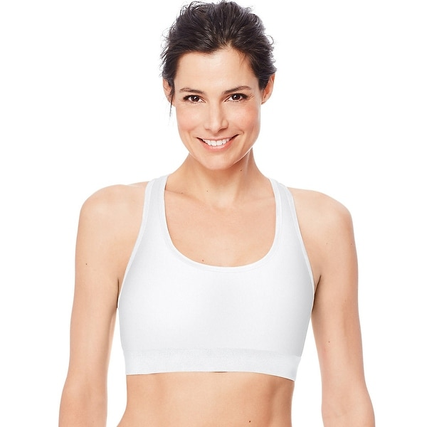 f6296600c45 Shop Hanes Sport™ Women s Racerback Compression Sports Bra - Color - White  - Size - L - Free Shipping On Orders Over  45 - Overstock - 24099236