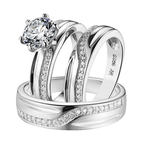925 Silver Mens Ladies Engagement Trio Set Wedding Solitaire Ring Band His Her