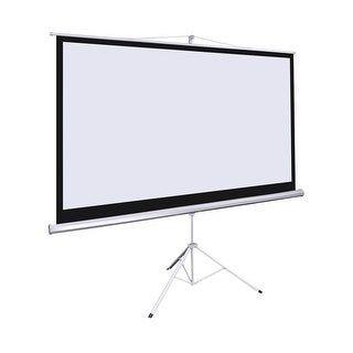 "Giantex 100"" 16:9 Manual Projection Screen Pull Down Tripod Projector Matte White Stand"