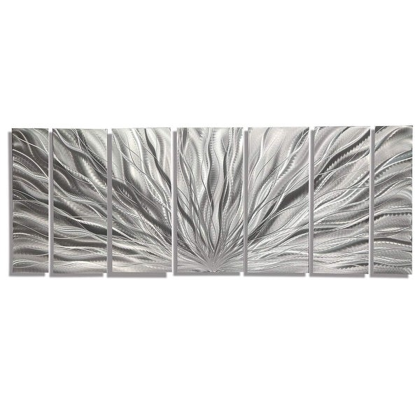 Statements2000 3D Metal Wall Art Abstract Modern Silver Round Decor by Jon Allen